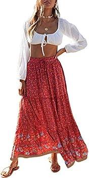 ZESICA Women s Bohemian Floral Printed Elastic Waist A Line Maxi Skirt with Pockets