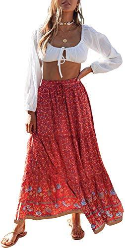 ZESICA Women's Bohemian Floral Printed Elastic Waist A Line Maxi Skirt with Pockets