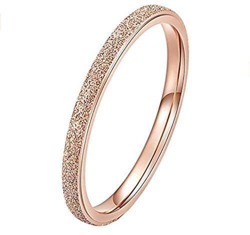 PAURO Damen Ring aus Edelstahl Roségold 2Mm Stapelbar Ehering Sandblast Finish Größe 54