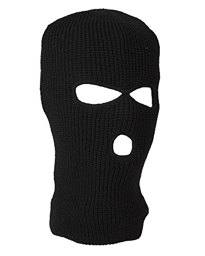 Winter Knitted Balaclava 3 Hole Face Mask SAS Style One Size (Black)