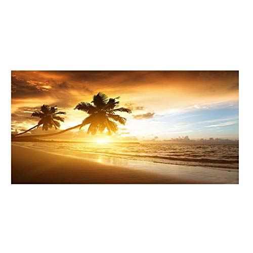 ZYBKOG Leinwanddrucke, Kokosnussbaum Sonnenuntergänge Sea Beach Landschaft, Poster Malerei Panorama Skandinavische Wandbild Wohnzimmer, kein Rahmen
