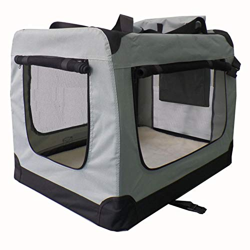 Sam´s Pet Faltbare Hundetransportbox Lassie Größe M | grau | Stoff | Transportbox kleine Hunde & Katzen | Hundebox Autobox Reisebox Auto Kofferraum
