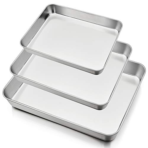 """Deep Baking Pan Set of 3 (12.3"""" & 10.4"""" & 9.3""""), P&P CHEF Stainless Steel Baking Sheet Lasagna Rectangle Cake Pan for Oven Dishwasher Use, Non-Toxic & Heavy Duty & Easy Clean"""