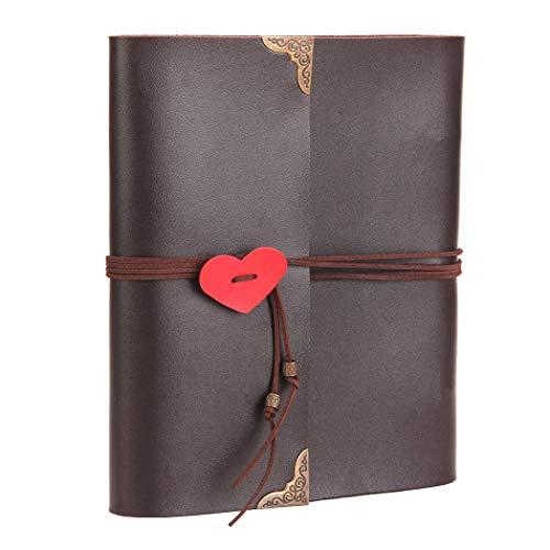 Fotoalbum om zelf vorm te geven, leer, scrapbook, zwarte pagina's, gastenboek voor op reis, Valentijnsdag, bruiloft, verjaardag, jubileum 19 * 25 * 2.5cm bruin
