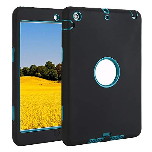 TKOOFN iPad Mini 1/2/3 Case, [3 in 1] Full Border Protective Silicone Hybrid Shockproof Case for Apple iPad Mini 1/2/3, Black + Green