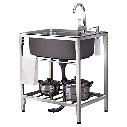 JPSHBA Fregadero Comercial De Acero Inoxidable,Lavabo Comercial,fácil de Limpiar y Fortalecer, Ideal para Hotel/Restaurante/Cocina/lavadero