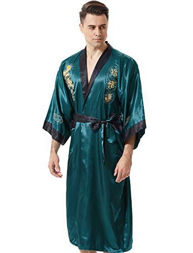MORCOE Men's Chinese Dragon Embroidered Satin Kimono Yukata Long Robe Soft Loungewear Nightgown Pajamas with PocketsStyle3 Green(two-side wear)