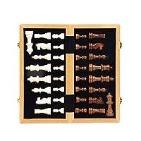 LJWJ 屋内大人の子供たちの教育ゲームチェスセットギフト内部ストレージ付きハイグレード木製チェスセット国際チェスゲームギフト折りたたみ木製チェス盤チェス駒チェス盤ゲーム,30cm