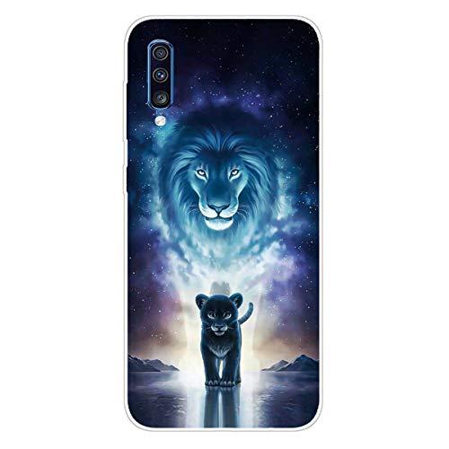 DiaryTown para Funda Samsung Galaxy A30S / A50, Cárcasa Silicona Transparente con Dibujos Diseño Suave TPU Gel Antigolpes de Protector Case Cover para Movil Samsung A50, León Cian