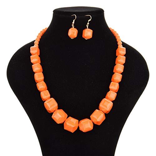 GLJYG Collar para mujer con cuentas de bola de varias playas, moderno, collar para mujeres y niñas, color naranja
