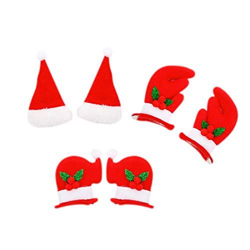 Amosfun 3 Paar Weihnachts-Haarspangen Haarklammern Weihnachtsmütze Geweih Cartoon Haarspangen Haarspangen Haarspangen für Kinder