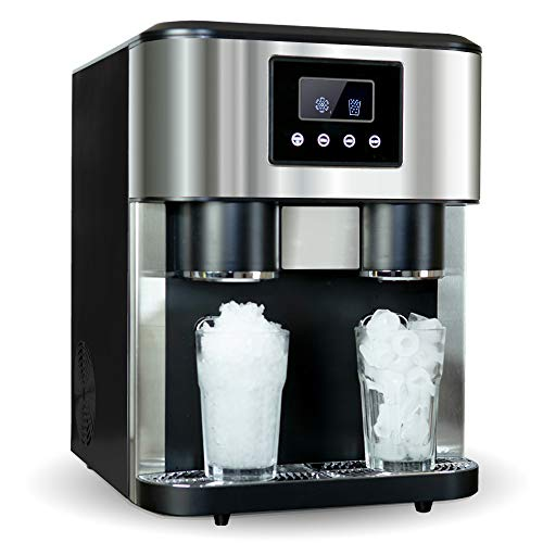 Crushed ice and ice Cube Maker with ice Water Function, Countertop Stainless Steel Ice Cube Machine, Adjustable Ice Size, Including Scoop and Water Supply Kit