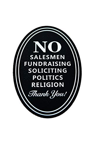 FANNN No Soliciting Sign, Digitally Printed Indoor Outdoor Sign, 5X6.5 inch Metal Door Sign for deterring Unwanted Visitors, Weather Resistant for House Home and Business (1)