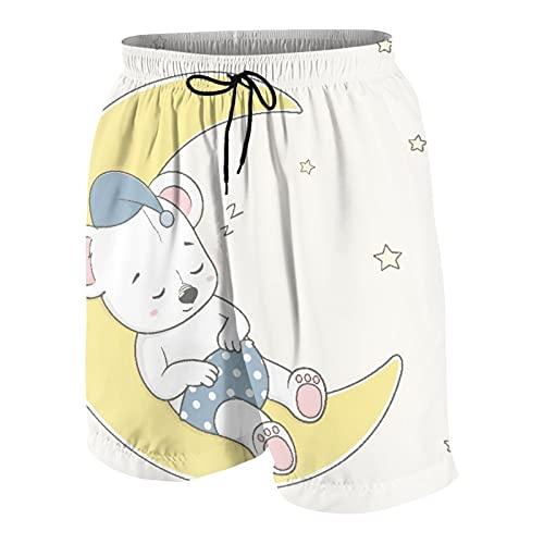 SUHOM De Los Hombres Casual Pantalones Cortos,Dibujado a Mano Dibujos Animados Lindo bebé Oso durmiendo en la Luna,Secado Rápido Traje de Baño Playa Ropa de Deporte con Forro de Malla