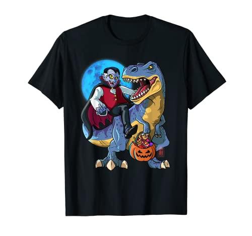 Conde Drcula T-Rex Halloween Nios Dinosaurio T Rex Vampiro Camiseta