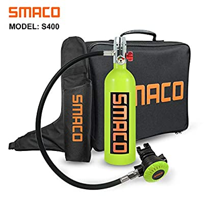 SMACO Scuba Tank Spare Air Diving Tank Mini Scuba Tank Scuba Cylinder with 15-20 Minutes Diving Oxygen Tank with Pump Breath Underwater Device?340 Breathe Times? S400 Dive Equipment Package B, Green