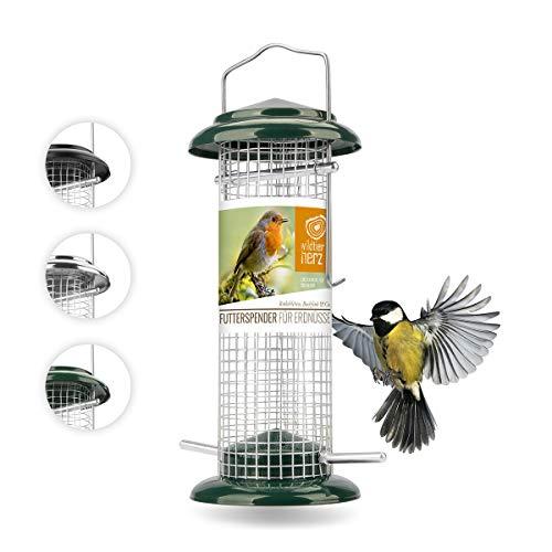 corazón animal salvaje I Comedero para pájaros de 23,5 cm, de metal inoxidable, comedero para pájaros, comedero para pájaros, silo, verde