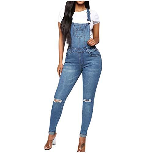 FONMA Women Casual Jean Pocket Leggings Hole Splice Trouser Rompers Pant Bib Pants Blue