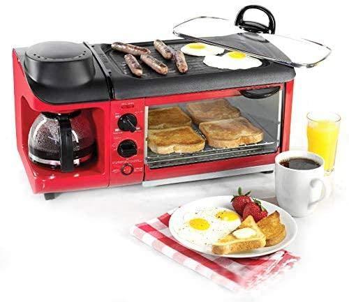 Haushalt Multifunktionales Frühstück Elektrischer Ofen Kaffeemaschine Braten Braten Drei-in-Eins Frühstücksmaschine Geschenk,red