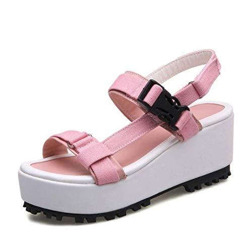 GenericBrands Sandalias De Cuña con Plataforma Antideslizantes para Mujer, Zapatos De Tacón Grueso De Lona con Hebilla, Sandalias para Caminar Informales, Adecuados para Damas, Cómodos Y Casuales