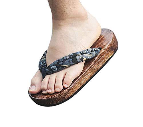 Zoccoli di legno giapponesi per sandali da uomo Giapponesi di scarpe piatte tradizionali Black Dragon Pattern Geta antiscivolo