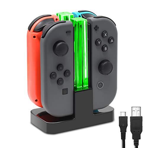 FASTSNAIL Chargeur Compatible avec Nintendo Switch, Station de Charger Compatible avec JoyCon avec Indication de Réverbère LED,Support de Charge avec câble de Chargement