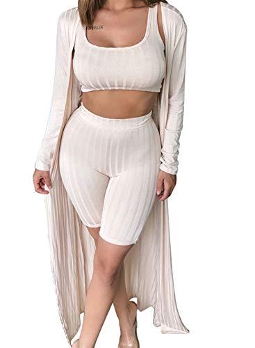 FOBEXISS Conjunto de 3 piezas de gasa de manga larga para mujer con pantalones cortos elásticos y pantalones cortos