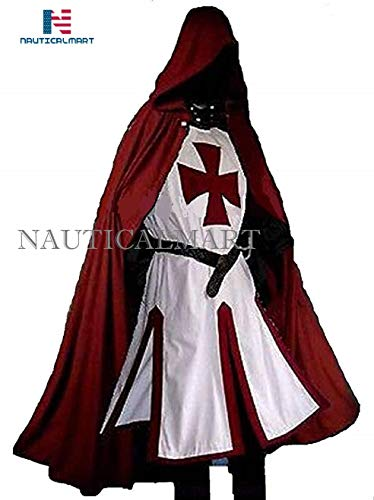 NauticalMart Medieval LARP Knights Templar Cross Surcoat & Capa Rejuvenecimiento Halloween Blanco/Rojo Oscuro