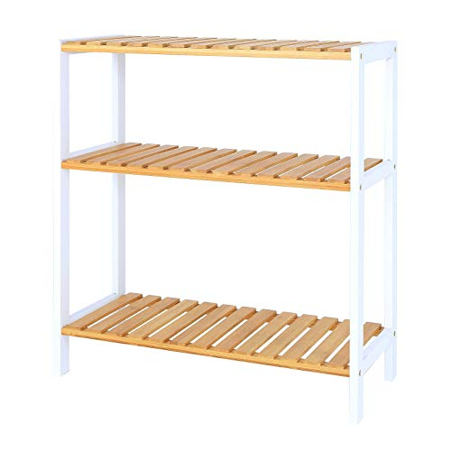 dibea Schuhregal mit 3 Ablagefächern Schuhschrank Wohnzimmerregal Standregal Küchenregal 60x26x66 cm natur/weiß