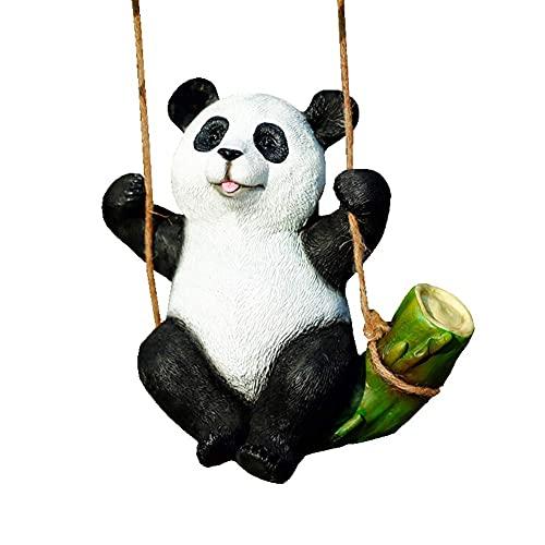 Figura de panda, decoración de jardín, decoración de jardín, colgantes de simulación de escultura de resina artesanías ornamentos 9.4 x 5.9 x 10.2 pulgadas