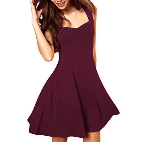 Frauen Cocktailkleid Partykleid Swingkleider Abendkleider Ärmellos Mini Kleid Frauen Knielang Kleider Tunika Ballkleider Einfarbig V Ausschnitt Frauenkleid