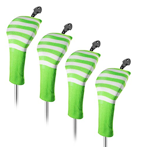 barudan golf 4pcs Knit Hybrid Head Covers Set Rescue Headcovers Utility Club Protect Case Interchangeable Number Tag, Golf Accessories for Men, Women