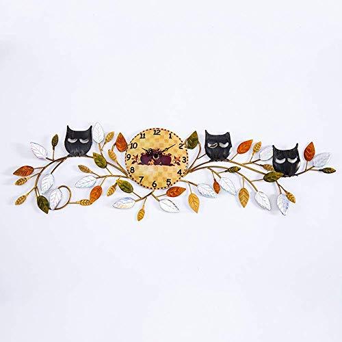 Metalen wandklok kunst, uil op tak decoratie klok ronde klok stille niet-tikkende kwarts, perfect voor Housewarming cadeau