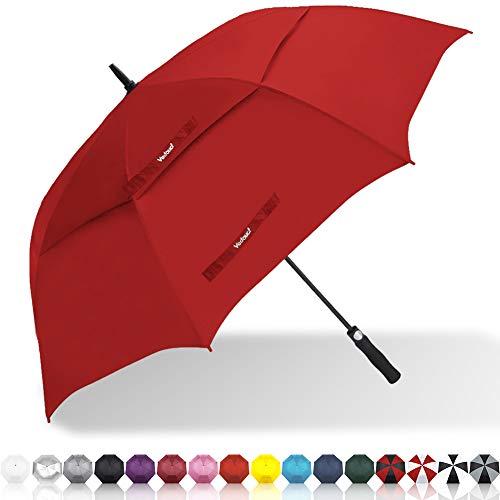 Vedouci Large Oversize Golf Umbrella Double Canopy Vented Windproof Stick Umbrella with Teflon Coating, Automatic Umbrellas Anti UV Coating Golf Umbrellas,Red