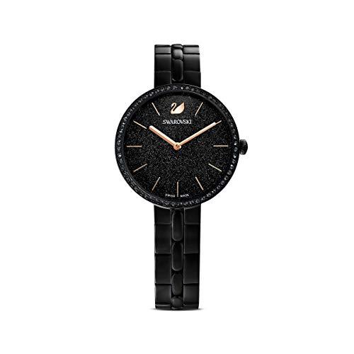 Swarovski Cosmopolitan Uhr, Damenuhr mit Schwarz Funkelndem Zifferblatt, Swarovski Kristallen und Edelstahlarmband
