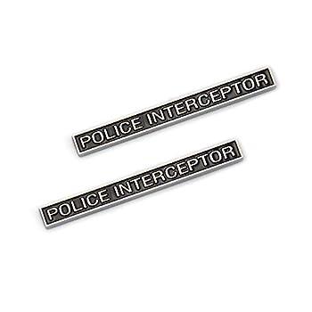 2X Police Interceptor Emblems Premium Car Badge Fender Sticker Fit For Explorer  Black with Silver outline