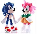 QWEI 2Pcs Kawaii Sonic Peluche Toys Cute Sonic Peluches Muñecos De Peluche Suaves Regalo De Bebé par...