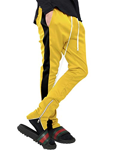 Mens Stripe Track Pants Skinny Fit Stretch Trouser Elastic Jogger 1VWA0006 (2X-Large, p122_YEL/Blk)