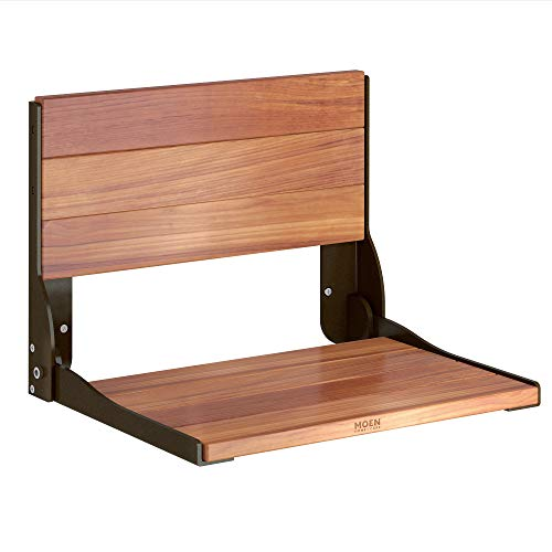 Moen DN7110OWB Teak Folding Shower Seat, Old World Bronze