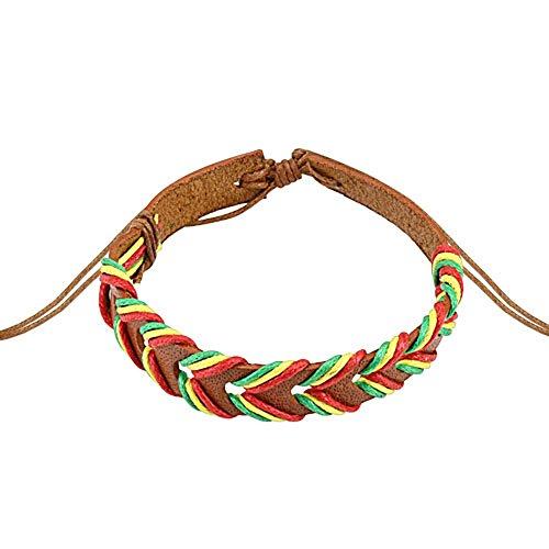 Light Brown Rasta Weaved Leather Bracelet with Drawstrings