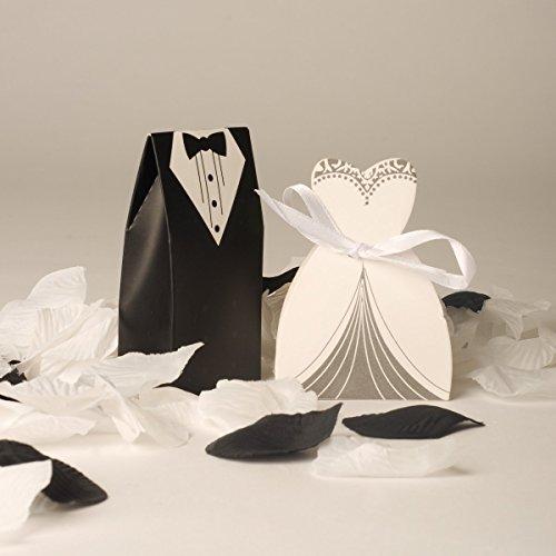 Carrie BB - Lot de 100 boîtes à dragées pour mariage 50 mariées / 50 mariés Style 2