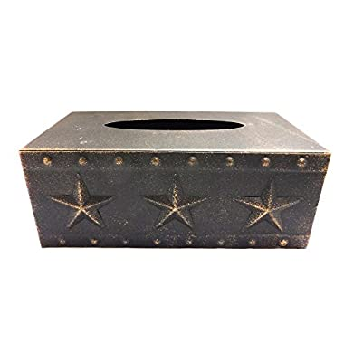 Metal Star Rectangular Tissue Box, Copper Finish