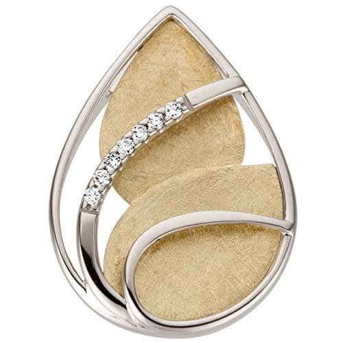 JOBO Damen-Anhänger aus 585 Gold Bicolor mit 7 Diamanten