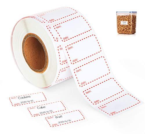 1000 Etiketten selbstklebend, Premium Haushaltsetiketten 50 x 25 mm Klebeetiketten Tiefkühletiketten für Haushalt, Büro, Küche, Marmelade, Weiß und rot