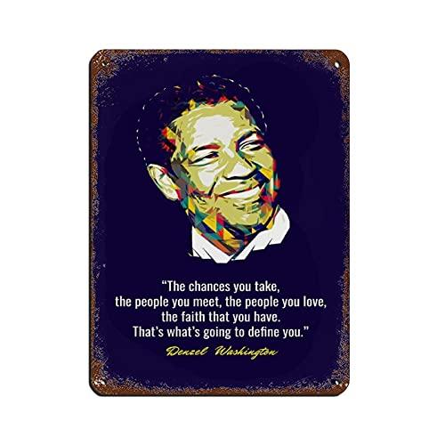 Cartel artístico de Denzel Washington con cita de celebridades, 2 letreros de metal, estilo vintage, pub, club, cafetería, bar, hogar, decoración de pared, 30 x 40 cm