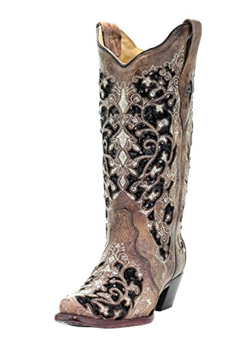 Corral Women's Black Inlay Floral Embroidery Studs Leather Cowgirl Boots - Brown … (7.5 B(M) US)