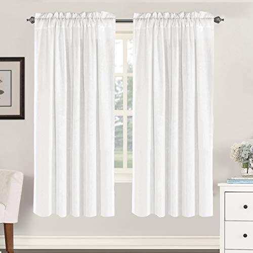 "Linen Curtains Elegant Natural Linen Blended Curtains Energy Efficient Light Filtering / Rod Pocket Window Treatments Panels / Drapes for Livingroom (Set of 2, Off White, 52"" x 72"")"