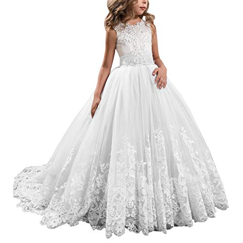 Princess White Long Girls Pageant Dresses Kids Prom Puffy Tulle Ball Gown US 10