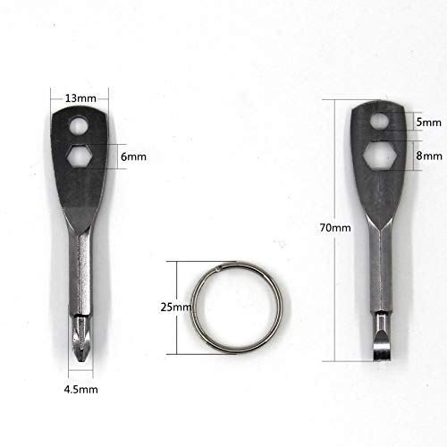Portable Screwdriver Keychain 4-in-1 Multifunction Set, Flathead and Phillips Key Screwdriver Tool Set, Nut Driver Hex Wrench Repair Hand Tool Pocket Screwdrivers, Gift for Man, Father, Husband