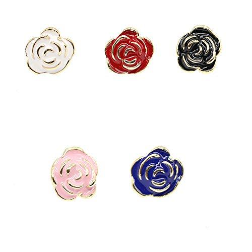 Spilla a bavero smalto carino Set 5 pezzi Spille fiore Sakura rosa Novità Spille divertenti Distintivi per donna Ragazza Ragazzi Abbigliamento Borse Z